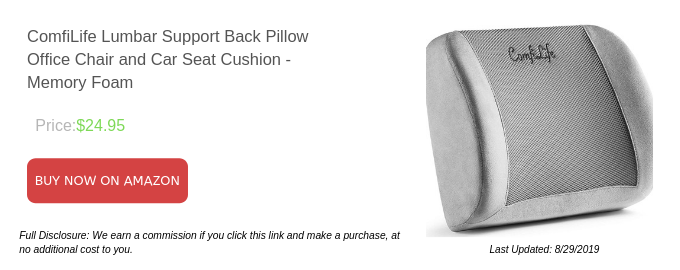 ComfiLife Lumbar Support Back Pillow Office Chair and Car Seat Cushion - Memory Foam