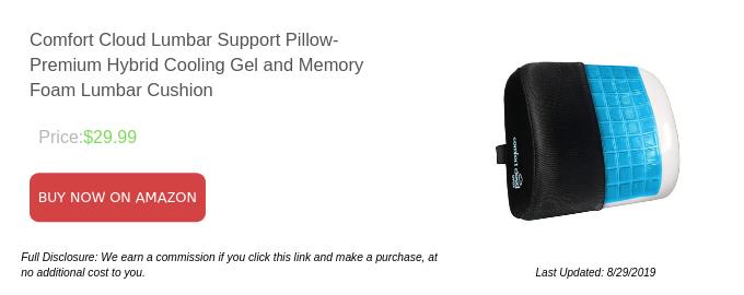 Comfort Cloud Lumbar Support Pillow- Premium Hybrid Cooling Gel and Memory Foam Lumbar Cushion