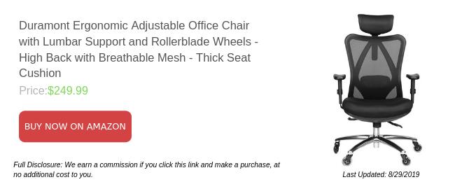 Chaise de bureau ergonomique réglable Duramont avec support lombaire et roues de rollers - Dossier haut avec filet respirant - Coussin de siège épais