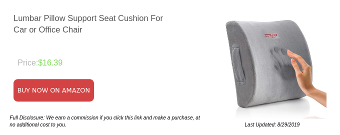 Lumbar Pillow Support Seat Cushion For Car or Office Chair