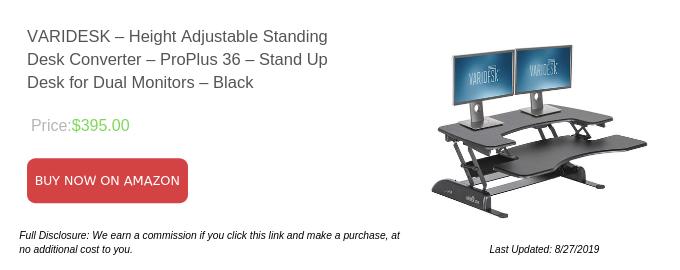 VARIDESK – Height Adjustable Standing Desk Converter – ProPlus 36 – Stand Up Desk for Dual Monitors – Black